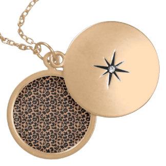 Colar Medalhão Locket do design da chita do revestimento do ouro!