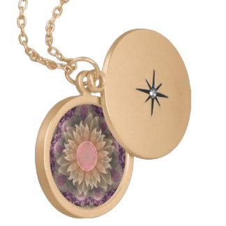 Colar Medalhão Locket do ouro com as flores Pastel da dália de