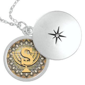 Colar Medalhão Locket Hanukkah da prata esterlina