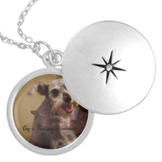 Colar Medalhão Locket redondo da mini prata do Schnauzer