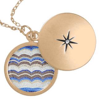 Colar Medalhão Locket redondo médio do mosaico azul