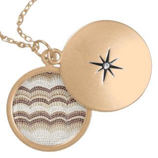 Colar Medalhão Locket redondo médio do mosaico bege