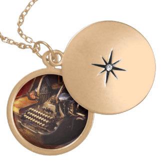 Colar Medalhão Máquina de dactilografia de Steampunk - de Oliver