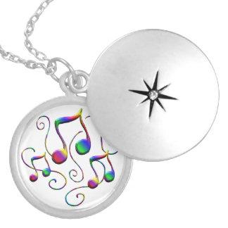 Colar Medalhão Notas da música e redemoinhos coloridos do