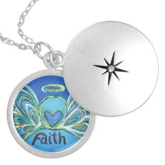 Colar Medalhão O anjo-da-guarda azul da fé exprime Lockets