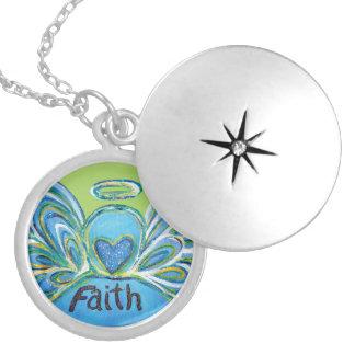 Colar Medalhão O anjo-da-guarda verde da fé exprime Lockets
