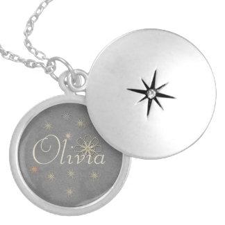 Colar Medalhão O ornamento de prata chique bonito da flor
