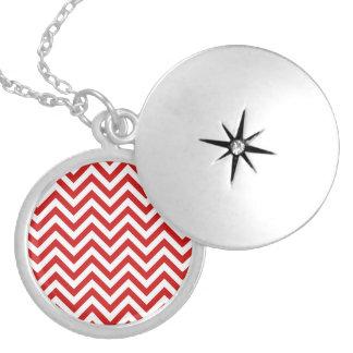 Colar Medalhão O ziguezague vermelho e branco listra o teste