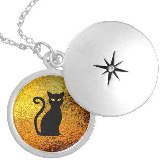 Colar Medalhão Olhos de gato modernos da textura de vidro do