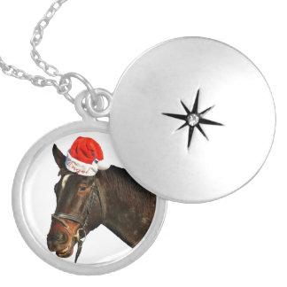 Colar Medalhão Papai noel do cavalo - cavalo do Natal - Feliz