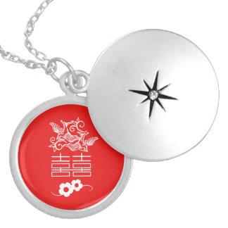 Colar Medalhão Pássaros do amor - felicidade dobro - jóia de Feng