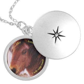 Colar Medalhão Prata média da foto do cavalo chapeada em volta do