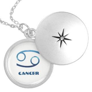 Colar Medalhão Sinais azuis do zodíaco do cancer no branco