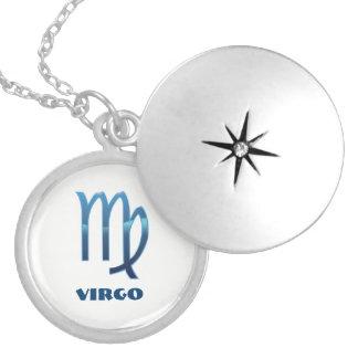 Colar Medalhão Sinais azuis do zodíaco do Virgo no branco