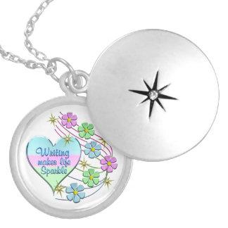 Colar Medalhão Sparkles da escrita