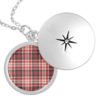 Colar Medalhão Teste padrão vermelho e preto da xadrez