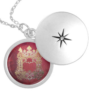 Colar Medalhão Tinta de Falln manchada carmesim