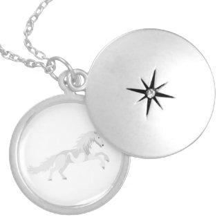 Colar Medalhão Unicórnio do branco da ilustração
