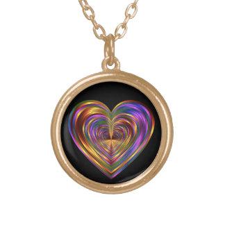 Colar metálica do coração do arco-íris