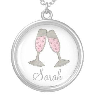 Colar personalizada Champagne cor-de-rosa da dama