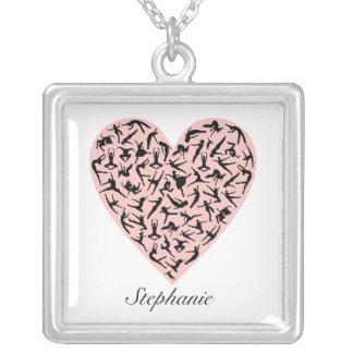 Colar personalizada da dança coração cor-de-rosa
