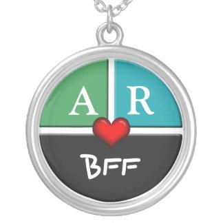 Colar redonda da amizade da fatia verde & azul BFF