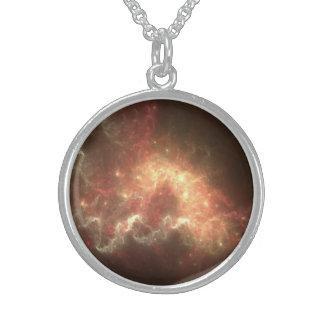 Colar redonda da prata esterlina do espaço