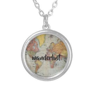 colar redonda do mapa do mundo do wanderlust