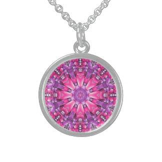 Colar roxa cor-de-rosa da prata esterlina do