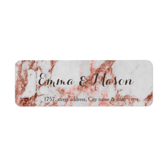 Coleção cor-de-rosa do casamento do ouro do falso etiqueta endereço de retorno