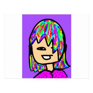 coleção da menina do hippie cartão postal