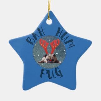 Coleção do Natal do Pug do zumbido de Bah Ornamento De Cerâmica