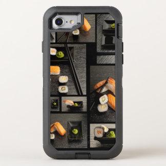 Coleção do sushi no fundo preto capa para iPhone 7 OtterBox defender