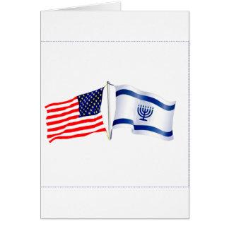 Coleção israelita da bandeira americana cartão comemorativo
