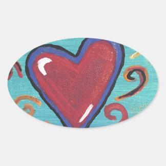 Coleção vermelha dos corações adesivo oval