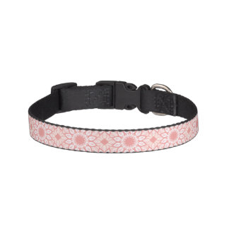 Coleira Teste padrão geométrico da mandala floral rosado