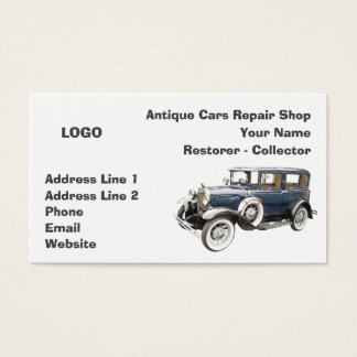 Coletor da oficina de reparações dos carros cartão de visitas