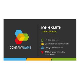 Coletor de débito - colorido escuro à moda cartão de visita