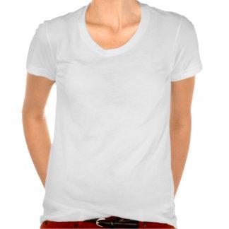 Colher branca N do roupa americano das mulheres do Camisetas