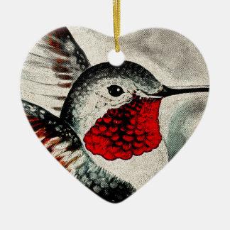 Colibri cómico ornamento de cerâmica coração