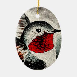Colibri cómico ornamento de cerâmica oval