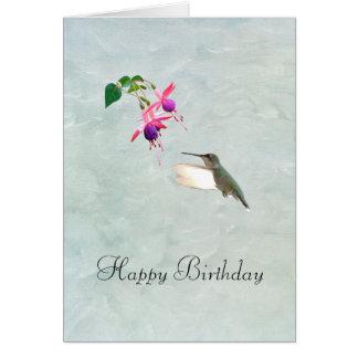 Colibri e cartão de aniversário de Fuschia