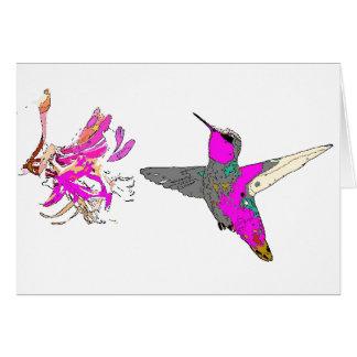Colibri no cartão cor-de-rosa
