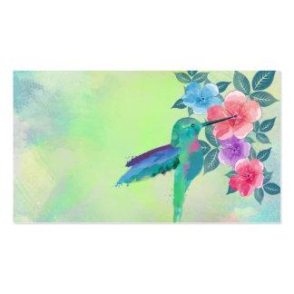 Colibri vibrante bonito legal dos watercolours flo modelo cartões de visita