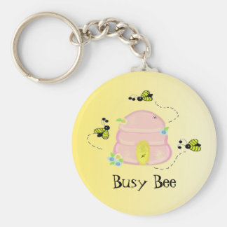 Colmeia cor-de-rosa - abelha ocupada chaveiro