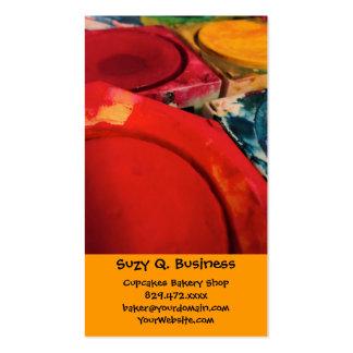 Colora a arte da aguarela das caixas da pintura da cartão de visita