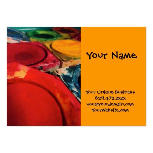 Colora a arte da aguarela das caixas da pintura da cartoes de visitas