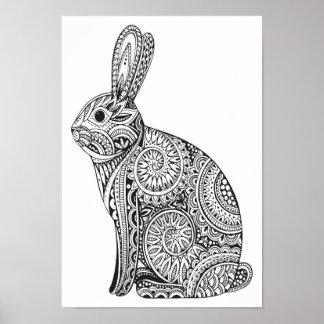 Colora-o teste padrão do coelho do poster