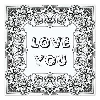 """Coloração adulta: """"Eu te amo"""" cartão"""