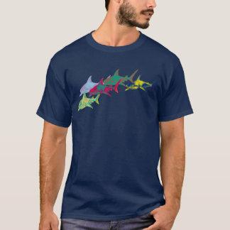 colorful sharks camiseta